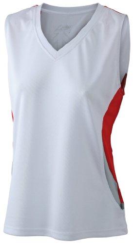 James & Nicholson Damen T-Shirt Running Tank Small white/red