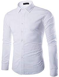 Gdtime Homme Chemise Manches Longues Slim Fit Uni sans Repassage Chemises  Casual Classique Business Taille Plus 67f03cdbe50d