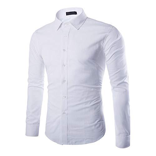 Gdtime Herren Hemd Klassisches Businesshemd Reine Farbe Hemden Langarmhemd Bügelleicht, L-Größe/Weiß (Weiß, L)