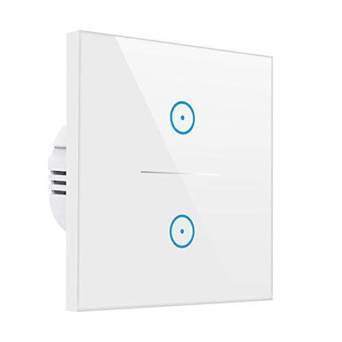 Smart Alexa Lichtschalter,MEAMOR WiFi Funk Wasserdicht Touch Wandschalter Kein Hub erforderlich,Kompatibel mit Alexa/Google Assistant/Smartphone(2 Gang)