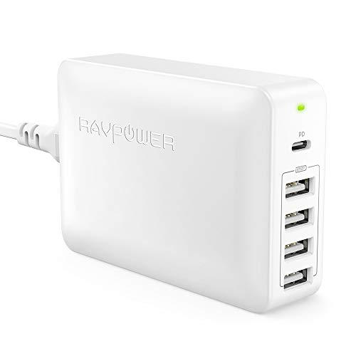 RAVPower 60W USB C Ladegerät, Multi 5-Port USB Ladegerät mit 45W Power Delivery für MacBook, iPad Pro, 4 Port mit 5V/2,4A für iPhone XS/XS Max/XR/X/8/8 Plus, Galaxy S9/S8, Nintendo Switch usw, Weiß