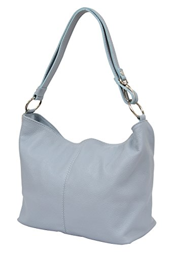 AMBRA Moda Damen Leder Handtasche Schultertasche Umhängetasche Hobo bag GL005 (Hellblau)