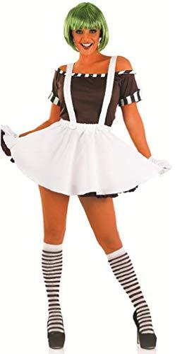 Fancy Me 5 STK. Damen Sexy Oompa Loompa Perücke Halloween büchertag Kostüm Kleid Outfit 8-22 Übergröße - Weiß, 8-10