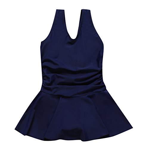 feiXIANG Mädchen Badeanzug mit Rock Kinder Einteiler Baderock Bade Kleinkinder Kinder Strand Kleid Badeanzüge Sleeveless Kleidung (Dunkelblau,7-8 ()