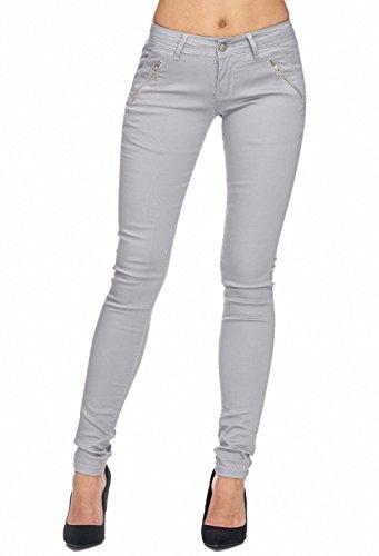 Damen Stoff Hose Hose Röhre Treggings Skinny Fit D1943 Grau 40 / L