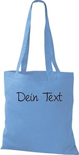 Shirtstown Stoffbeutel Baumwolltasche individuell mit deinem Wunschtext versehen viele Farben Hellblau