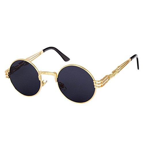 Atdoshop-Runde Retro Polaroid Sonnenbrille Fahren Polarisierte Gläser Männer Steampunk (Inklusive Kastenkasten) (C)