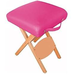 Harima - Hades Rosa Profesional de peso ligero plegable silla de madera taburete silla para Belleza Spa Cosmética Masaje Terapia Tatuaje Artista Salón Manicura Terapia Deportiva Con ruedas, diseño de mesa Reiki y portátil