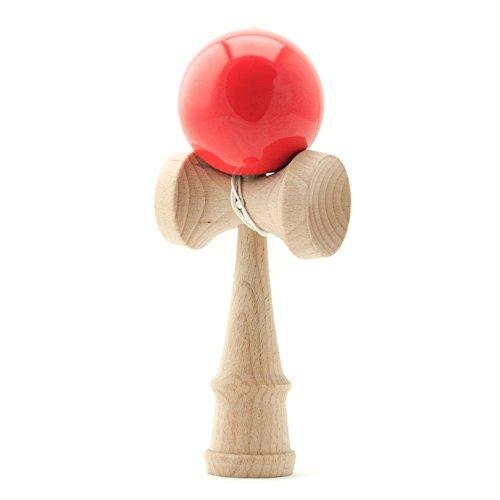 PRECORN Kendama Japanisches Geschicklichkeitsspiel rote Kugel Holz-Spielzeug Kugelfangspiel Marke