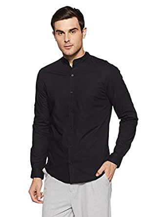 Diverse Men's Solid Slim Fit Casual Shirt (DCMCF12SC17KA1-215D_Black_Large)