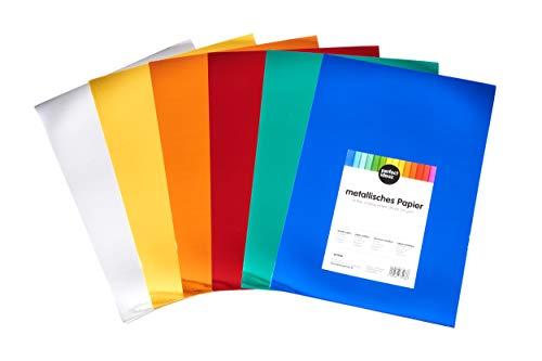 perfect ideaz 50 Blatt DIN-A4 Metallic-Foto-Karton bunt, metallisches Bastel-Papier, Bogen in 6, 250 g/m², Ton-Zeichen-Pappe zum Basteln, buntes Blätter-Set farbig, DIY-Bedarf