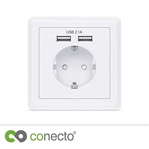 conecto CC50500 Schutzkontakt Steckdose, Einbausteckdose, Wandsteckdose, Unterputz mit 2X USB Anschluss, weiß (1 Stück) -