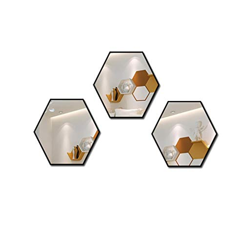 Wyhgry Badezimmerspiegel, Wand Hexagon DIY High Polymer Rahmen Klebstoff Spiegel, Moderne Eitelkeit Wohnzimmer Schlafzimmer Kleiderschrank Fliesen Dekoration (Size : 3pcs) (Fliesen-rahmen-spiegel)