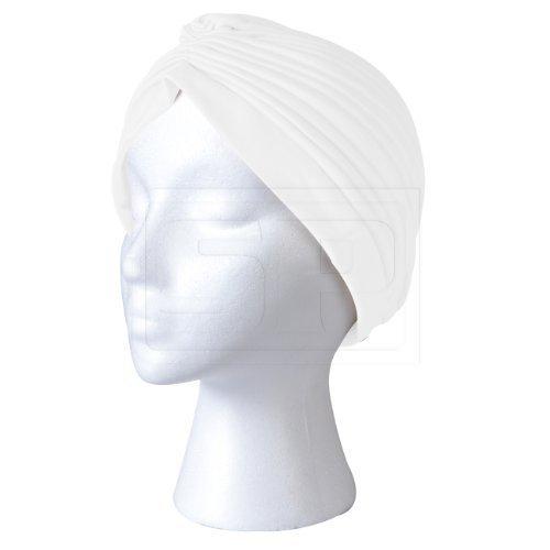 SHUKAN FASHIONS - NEW FULL HEADCOVER WHITE TURBAN HEADWRAP HAIR LOSS CHEMO HAT BANDANA - P124 by NA (Turban Headcover)