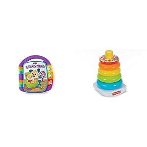 Fisher-Price Libro Interactivo de Aprendizaje, Juguete bebé +6 Meses (Mattel FRC69) + FHC92 Pirámide balanceante, Juguete para bebé +6 Meses