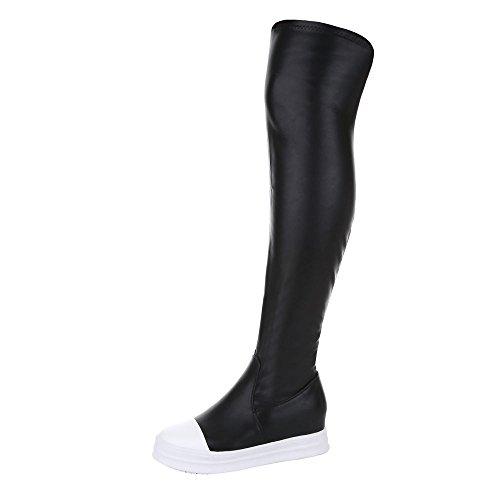 Overknee Stiefel Damen Schuhe Klassischer Stiefel Keilabsatz/ Wedge Keilabsatz Reißverschluss Ital-Design Stiefel Schwarz, Gr 38, 6997-Y- (Sexy Overknee Stiefel)