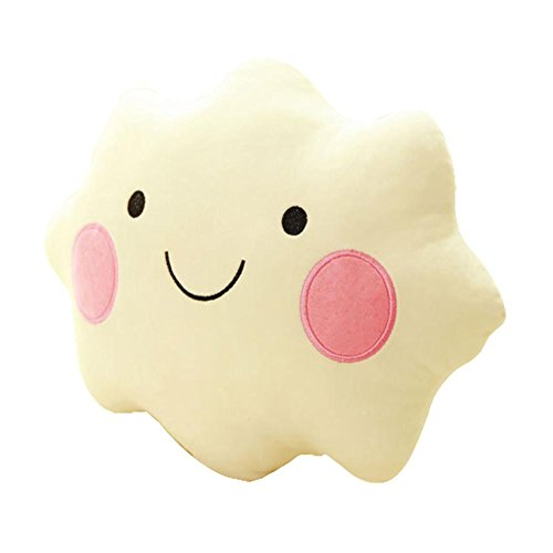 QJIAXING Mode Sourire Face Lovely White Clouds Oreiller Crystal Velvet Cushions Peluches Blanc, 45cm 0.38kg
