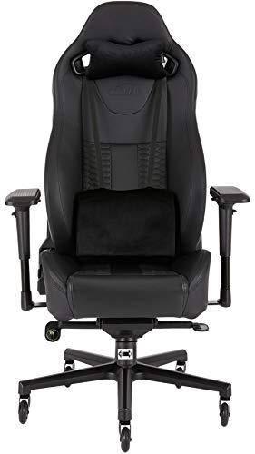 Corsair T2 Road Warrior  (Kunstleder Gaming Büro Stuhl, EinfacheMontage,Ergonomisch schwenkbar,verstellbareSitzhöhe & 4D Armlehnen,Komfortablebreite Sitzfläche mit hoher Rückenlehne) schwarz