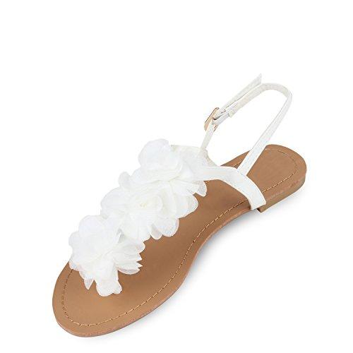 Damen Dianetten | Blumen Sandalen Zehentrenner | Sommer Schuhe Flats | Beach Zierperlen Weiß