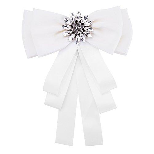 Parkho EH7921 Brosche mit Fliege und Kristallen, vorgebundene Schleife, für Hochzeit, Party, für Damen, Mädchen, Studenten, Krawatte