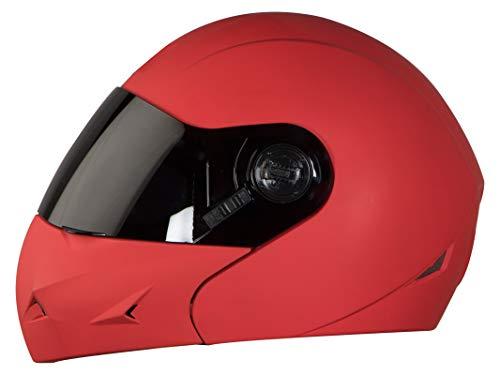 Steelbird SB-45 7Wings Flip Up Helmet with Smoke Visor (Large 600 MM, Matt Red)