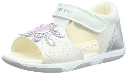 Geox B Sandal Tapuz Girl B, Sandalias para Bebés, White/Silver C0007, 19...