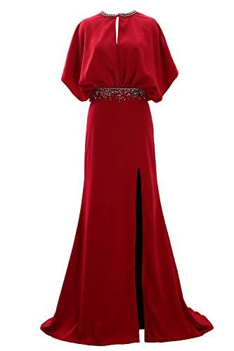 MACloth Women Beaded Crepe Flutter Sleeved Evening Gown Mother of Bride Dress (EU44, Burgundy) - Damen Flutter Sleeve Dress