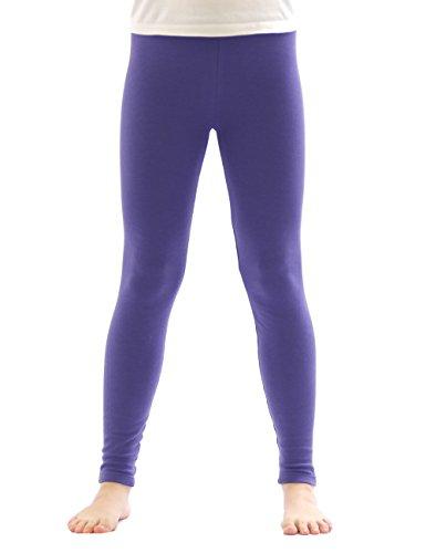 yeset Kinder Mädchen Thermo Leggings Fleece Hose lang Leggins aus Baumwolle violett 134