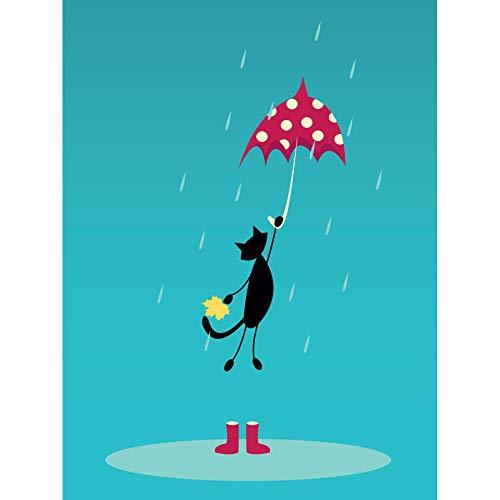Wee Blue Coo LTD Painting Drawing Cartoon Cat Umbrella Wellies Rain Canvas Print - Print Wellies