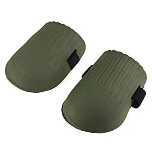 Rodilleras con correas dobles resistentes y cierre ajustable para trabajos de renovación en el jardín, verde militar