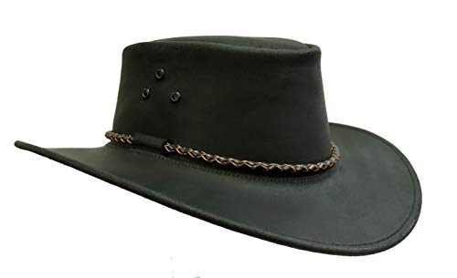 Kakadu Lederhut Echuca in schwarz mit geschwungener Krempe und Rundkordel-Hutband | Herren Damen Größe XXL | 2. Wahl