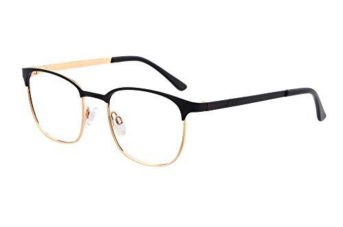 Edison & King Lesebrille Royal: Zeitlose Eleganz veredelt mit Premiumgläsern inkl. Bluelightprotect (schwarz-Gold, 2,50 dpt)