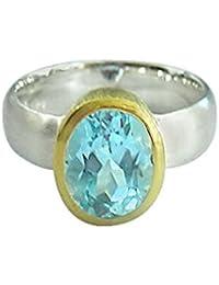 Gemshine - Damen - Ring - Silber 925 - Vergoldet - Topas - Blau
