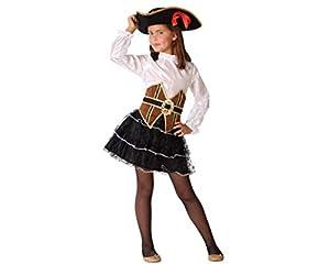 Atosa-61510 Atosa-61510-Disfraz Pirata-Infantil Niña, Color marrón, 7 a 9 años (61510