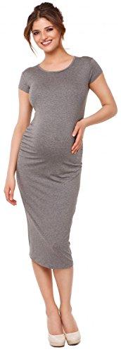 Happy Mama. Damen Umstands Figurbetontes Kleid. Schwangerschaftskleid. 183p Grau Melange