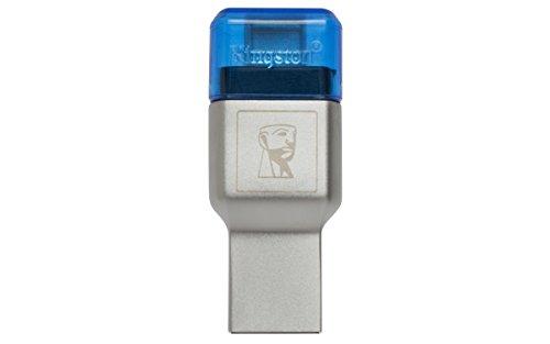 Kingston fcr-ml3c, lettore di schede micro sd (usb 3.1, c), blu e argento