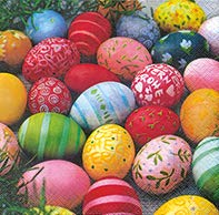 20 Servietten Colourful Eggs - Farbenfrohe Ostereier / Ostern / Frühling 33x33cm