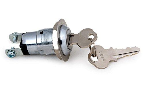 wellenshop 12 Volt Schließzylinder Schlüsselschalter Schalter 2 Kontakte mit ON/Off 2-stufig Schloss Boot Auto