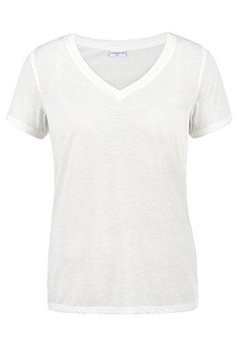 JACQUELINE de YONG by Only Leona Damen T-Shirt Kurzarm Shirt mit V-Ausschnitt, Größe:M, Farbe:Cloud Dancer (Baumwolle Kurzarm V-neck T-shirt)