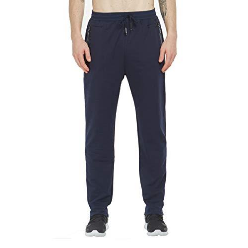 Tansozer Jogginghose Herren Baumwolle Trainingshose Männer Sporthose Herren Lang Fitness Hosen Herren Reissverschluss Taschen Ohne Bündchen Blau XL