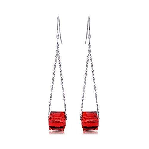 Boucles d'oreilles cube de cristal swarovski elements plaqué or blanc Rouge