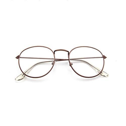 EUCoo Brillengestell Mode Retro Metall Runden Rahmen Spiegel Flache Brille Student GläSer(Braun)
