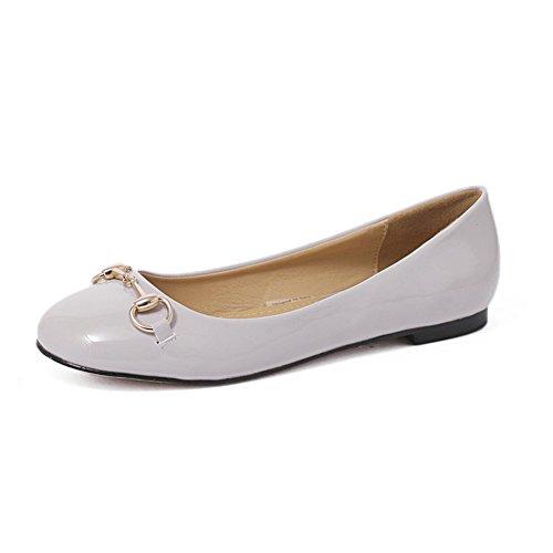 Moderne Damen Runde Zehen mit Zwinge Kurzschaft Slip-on Gummi Sohle Lässige Schuhe Flach Bequeme Mokassins Weiß Größe 40 EU
