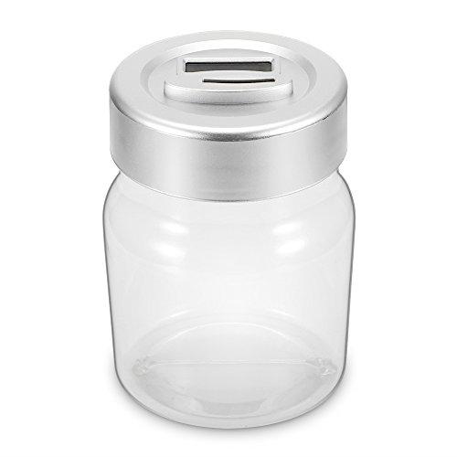 Geld sparendes Glas, Creative Digital Coin Counting Geld sparen Box Jar Bank mit LCD-Display für Geschenk (Euro), große Kapazität bis zu 2,5 L (Klar, Coin Bank)