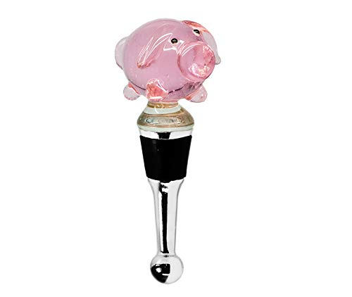 EDZARD Flaschenverschluss Schwein für Champagner, Wein und Sekt, Höhe 10 cm, Muranoglas, Handarbeit