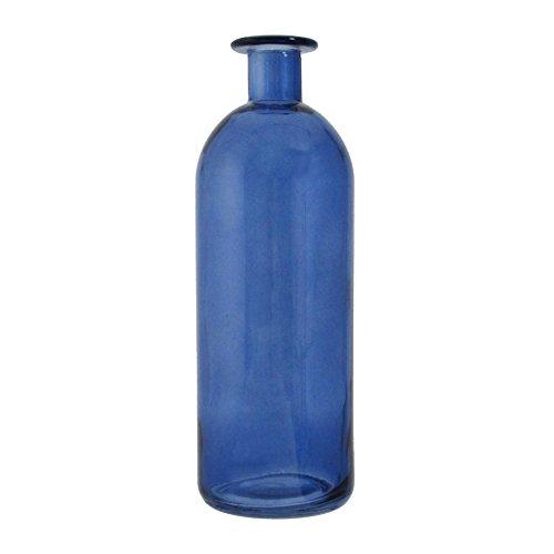 GLAS VASE TRANSPARENT. Flasche ca 7 x 20 cm. In BLAU -90 (Glas Blau Vase)