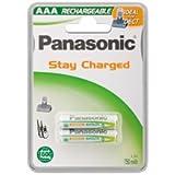 Panasonic Lot de 2batteries rechargeables micro AAA 800mAh 750mAh NiMH P03 HR03 idéales pour téléphones sans fil