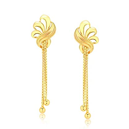 KaratCraft 22KT Yellow Gold Drop Earrings for Women