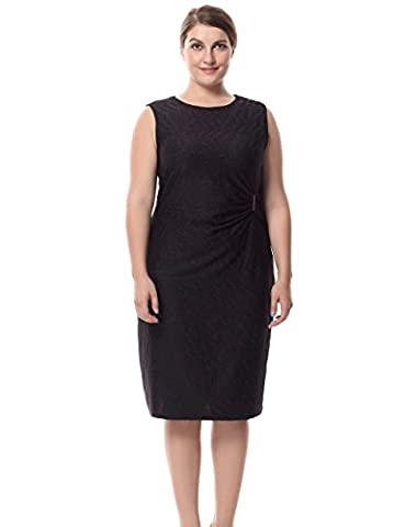 Chicwe® Femmes Grande Taille Taille Mock Tie Robe sans manches Noir 56
