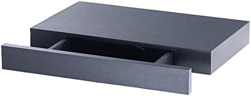 Carlo Milano Wandregal mit Geheimfach: Wandregal mit versteckter Schublade, 40 x 5 x 25 cm, schwarz (Regal mit Geheimfach) -